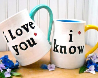 I Love You I Know Red Heart or Rebel Alliance Star Wars Mugs - HandMade Stamped 2 Tea Cup Fantasy Set - Mr & Mrs Wedding 8th 9th Anniversary