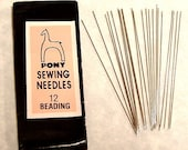 25 NEEDLES Sewing Supplies - Pony Needle - Hand Sewing Size 12 Beading (53mm) - 25 per package