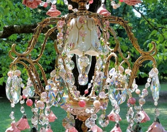 Sold -  Basket of Roses Antique Petite French Chandelier