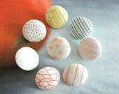 Handmade Modern Minimalist Small Pink Blue Green White Geometric Stripes Dots Fabric Covered Buttons Fridge Magnets, 0.8 Inches 8's