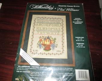 Elsa Williams Counted Cross Stitch Williamsburg Theorem Sampler 29644 Vintage Kit