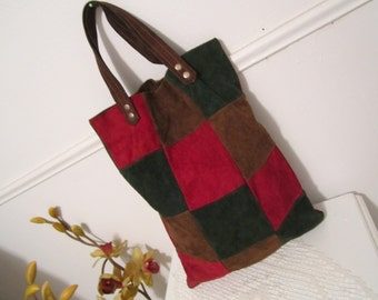 Suede Tote Patchwork Carryall bag