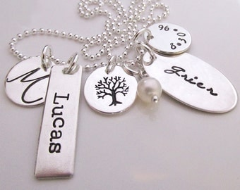 Charmed Tree Necklace - personalized necklace - family necklace - hand stamped charm necklace - Mothers Jewelry - Grandmothers Necklace