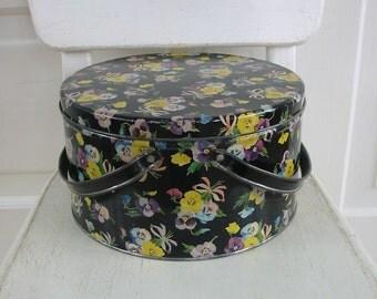 Vintage Metal Tin Basket Box Biscuit Flowers Pansies Black Yellow