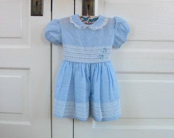 Vintage Baby Girl Dress Easter Light Blue Infant Peter Pan Collar Nannette