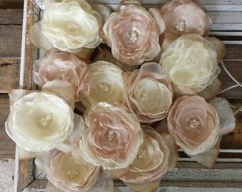 Wedding DIY Fabric flowers for Decorations or DIY Bouquet, Champange and Ivory,Wedding Decor,Wedding Table Decor,Wedding Centerpiece