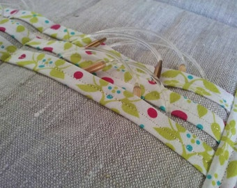 Circular Knitting Needle Case - Gift for Knitter- Linen Knitting Needle Holder - Circular Needle Organizer with Organic Cotton Trim