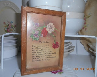 1938 Picture with a poem To Mother from her Son Carnations and Violets flowers