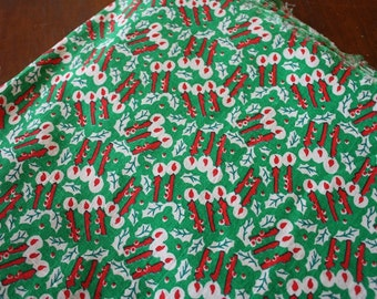 Vintage Christmas Candle Fabric 44x84 inches