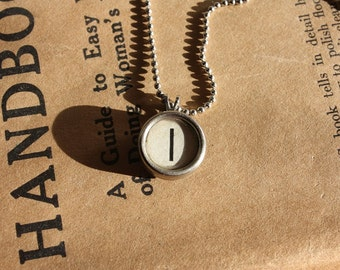 "Vintage Typewriter Key Necklace Letter ""I"" on Ball Chain"