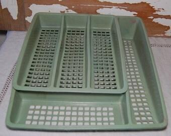 Vintage DOUBLE Deka Plastics Silverware Tray Organizer Flatware Storage USA Retr