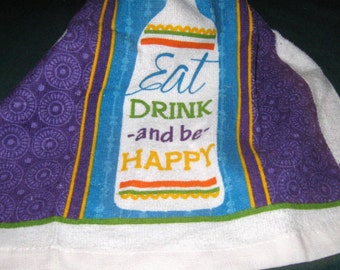 "Crochet hanging Towel, ""Eat, Drink, and be Happy"", purple crochet top"