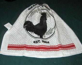 Crochet hanging towel, Rooster, Black crochet top