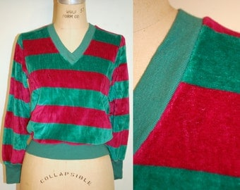 Small Velour Sweater. Cozy 80's Velour Sweater with Stripes. Red and Green Sweater. V Neck Velour Jumper. Holiday Sweater. Christmas Sweater
