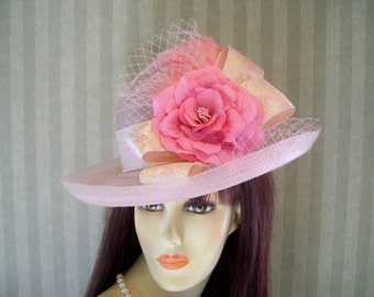 "Pink Kentucky Derby Hat ""Filly Run"" Tea party, Ascot, Preakness, Easter hat By Ms.Purdy"