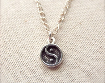 """Yin Yang Silver Necklace - 16.5"""" Sterling Silver Chain - Balance and Harmony - Zen - Taoism - Yoga Necklace"""