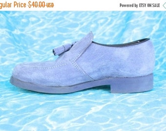FLASH SALE 90s Hush Puppies in Lavender Suede / Loafers with Tassels Pale Pastel Purple Soft Grunge Boat Shoes US 5.5 Uk 3 Eu 36