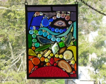 Harmony again Chakra Stained Glass Abstract  Explosion of Colors, Agates, Jewels, bevels, crystals and Moon Face Gem
