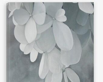 Hydrangea Canvas Print - Gray White Large Decorative Modern Botanical Wall Art Print Reproduction