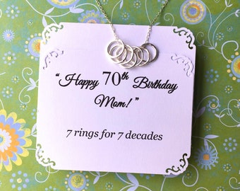 70th BIRTHDAY Gift for Women 7 Rings for 7 Decades Necklace for Mom STERLING SiLVER 70th Birthday Gift for Grandma Sister Gift Made in USA