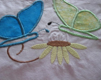 2 Butterflie Butterfly machine embroidered/applique quilt block, 10 x 10 inches