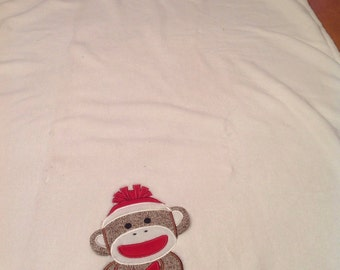 Sock monkey plush baby blanket
