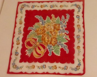 Vintage Mid Century Red and Gold Floral Handkerchief with Roses and Lily of the Valley and Ferns