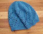 Womens Lace Beanie - Crochet Tam - Mesh Hat - Teal