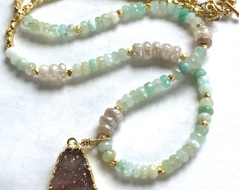 Champagne Druzy Necklace Champagne Druzy and Peruvian Opal Necklace Boho Chic Druzy Necklace