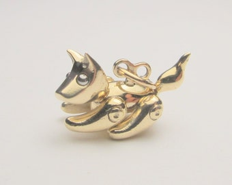 9K solid yellow gold Robopuppy puppy jewellery