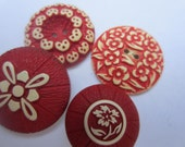 Vintage Buttons - Cottage chic mix of red buffed celluloid, medium to large flowers,  lot of 4 (oct 101)