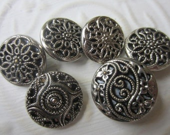 Vintage Buttons - 5,  3 matching, floral pressed design,and filigree antique silver metal,( sept319)
