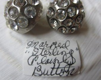 Vintage Buttons-2 matching beautiful,Possibly Sterling Silver, rhinestones 1950's silver metal (lot SEPT 339)