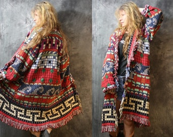 Vintage Fringe Blanket Coat Long Tapestry Cotton Jacket Southwestern Aztec Woven Dress Coat with Pockets Bohemian Hippie Majik Horse