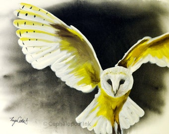Barn Owl Gouache / Watercolor Art Print, wildlife painting, bird art, owl artwork, owl painting, Harry Potter, owl decor