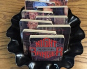 NIGHT RANGER handmade wood coasters and record bowl from recycled Midnight Madness music album cover