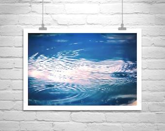 Blue Water Art, Art Print, Water Ripples, Indigo, Rain Art, Rainfall, Raindrops, Abstract Art, Nature Photography, MurrayBolesta