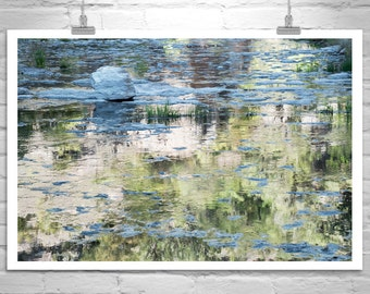 Water Reflections, Water Art, Nature Photography, Wilderness Art, Arizona Canyons, Water Ripples, Gold Art, Art for Living room