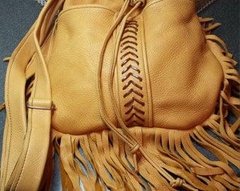 Genuine Deerskin Fringe Bag in Gorgeous Buckskin