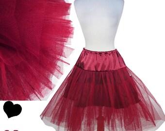 New Red Crinoline Burgundy 50s Vintage Style Retro Petticoat Crinoline S M L Xl Xxl 1X 2X 3X Full Skirt Rockabilly Pinup Swing