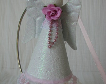 Angel Ornament Hand Painted Pink Lace Pearls Rose Glitter