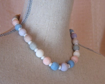 Pastel Lava Bead Graduated Necklace
