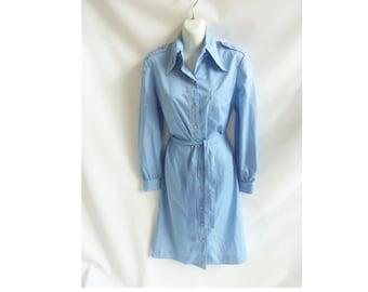 Vintage 70s Shirt Dress Size L Blue Chambray Cotton Mod Safari Boho Secretary