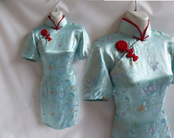 Vintage 50s Cheongsam Dress Size S Aqua Blue Chinese Silk Brocade Wiggle 60s