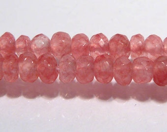Cherry Rose Jade Faceted Rondelle Gemstone Beads....4mm...10 Beads