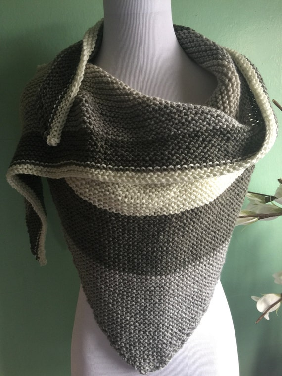 Hand Knit Shawl Scarf with Acrylic and Wool Blend Neutral Colors