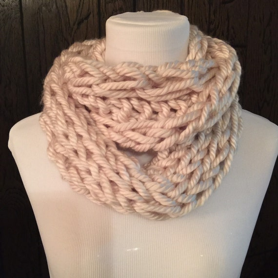 Hand Knit Soft Neutral Cream Infinity Scarf Outlander Inspired Claire Cowl