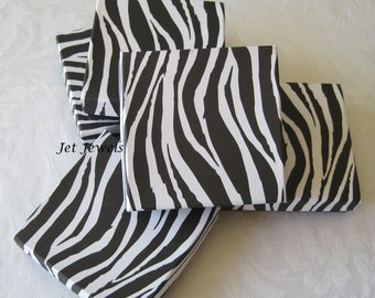 Gift Boxes, Jewelry Boxes, Zebra Animal Print, Black and White, Wedding Favor Boxes, Boxes with Lids, Cotton Filled 3.5x3.5x1 Pack 10