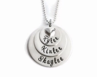 Triple Stack - Hand stamped sterling silver 3 Stack Name Tag Necklace with small puffy heart