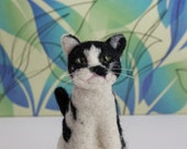 RESERVED-Custom order for a black and white needle felted cat ornament from photos, Custom pet portrait, Cat memorial
